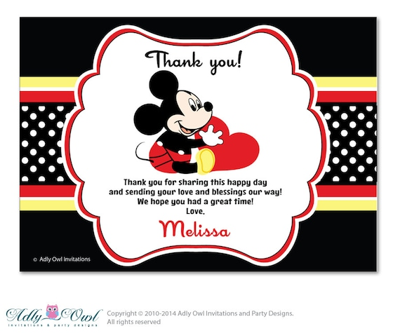 Boy Mickey Mouse Thank You Card With Personalization Boy Etsy