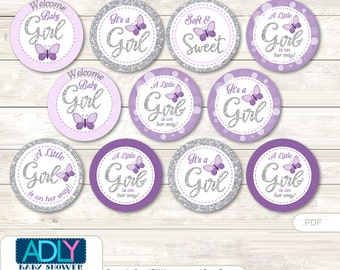Purple Butterfly Cupcake Toppers for Baby Shower Printable DIY, favor tags, circles, Bokeh, grey- ao126bs0
