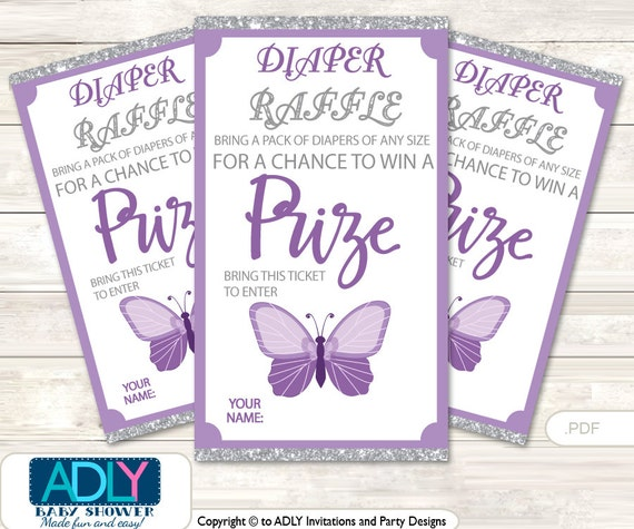 purple butterfly diaper raffle tickets printable for baby purple