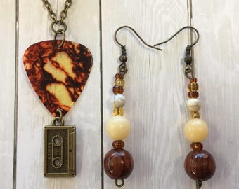 Antiqued Brass Guitar Pick Necklace & Beaded Earrings Set