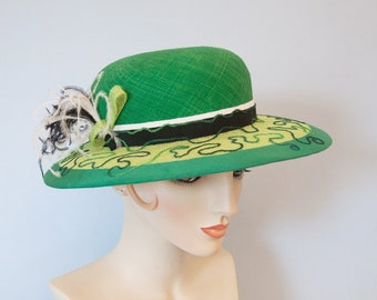 Emerald and Lime Green Straw Hat. Green Kentucky Derby Hat. Women's Wide-Brim Summer Hat. Embroidered Sinamay Church Hat w/ Swirls, Feathers