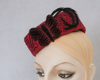 Butterfly Pillbox. Red hand-embroidered fascinator. Vintage style cocktail hat. Millinery percher tilt hat with soutache inspired embroidery
