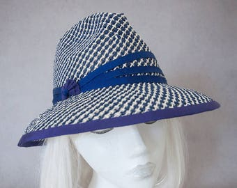Navy Straw Sun Hat. Women's Fedora. Fresh Summer Hat. Toyo Paper Straw. Ladies Wide Brim Hat Under 100. Beach Hat. Airy Blue & White Fedora.