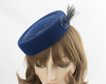 Blue Beaded Cocktail Hat. Hand-Beaded Felt Fascinator with Peacock Feathers. Holiday Party Hat. Sparkly Headpiece. Couture Millinery.