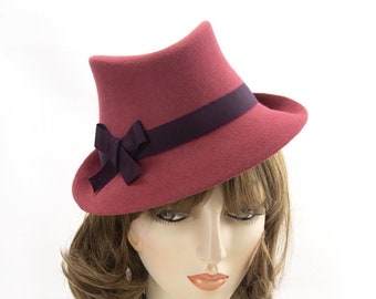Cinnamon 1940s Style Trilby. Russet Perching Fedora. Vintage Style Hat in Red Brown Felt. His Girl Friday 40s Inspired Hat. Ladies Millinery