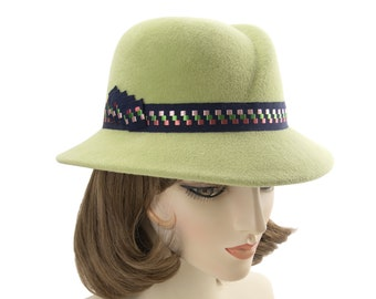 Light Green Sloped Fedora. Designer Millinery. Vintage Style Women's Hat. Spring Green Velour Felt Wide-Brim Fedora with Embroidered Ribbon.