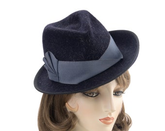 """Black Tilt Fedora. 1940s style Perching Trilby with Slate Blue Ribbon Trim. 21.5"""" Small Head Size Ladies Hat. '40s Designer Millinery"""