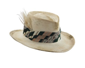 Distressed Straw Hat. Faux Aged Western-Style Hat. Shabby Cowboy Hat. Wide-Brim Straw Hat with Green Silk Band. Dirty White Hat. Boho Fedora