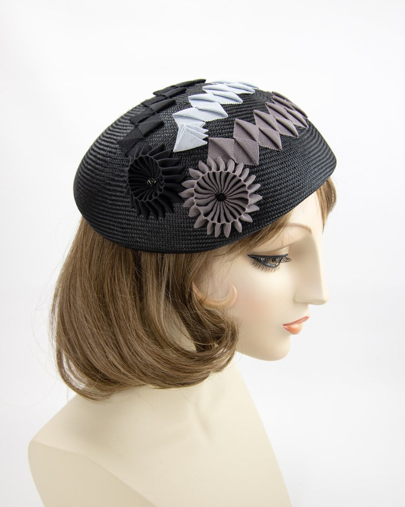 Black Straw Beret. Geometric couture millinery hat. Black image 0