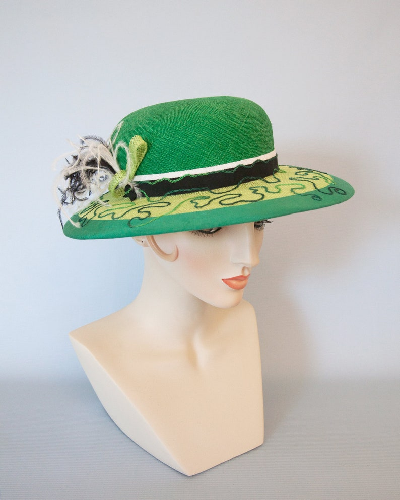 Emerald and Lime Green Straw Hat. Green Kentucky Derby Hat. image 0