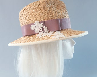 Women's Straw Hat. Woven Straw Fedora with Pink Band and Lace Decoration. Ladies Wide Brim Sun Hat. Summer Fedora. Straw Millinery Women Hat