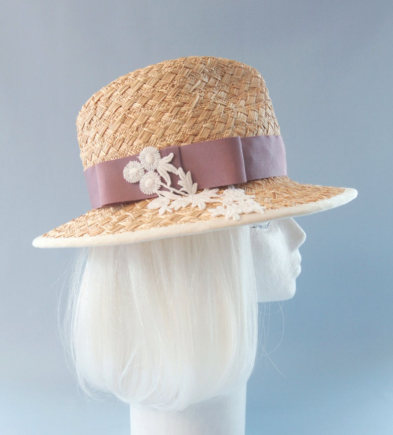 Women's Straw Hat. Woven Straw Fedora with Pink Band and image 0