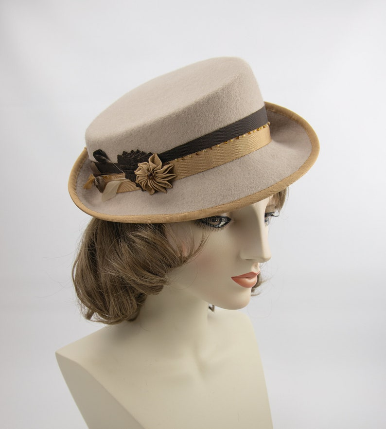 Beige 1940s Style Fedora. Vintage Inspired Women's Hat. image 0