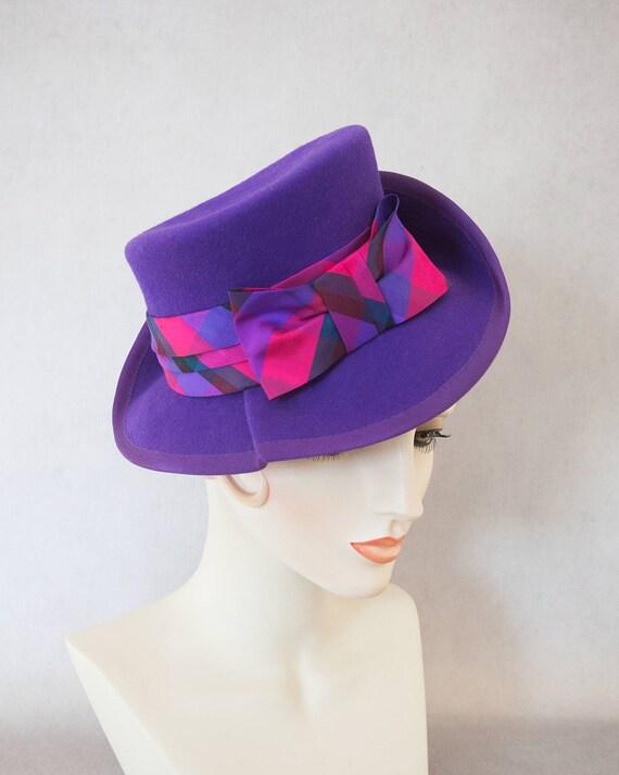 cf9cb0d3e54 1940s Style Purple Tilt Hat. Vintage inspired percher fedora.