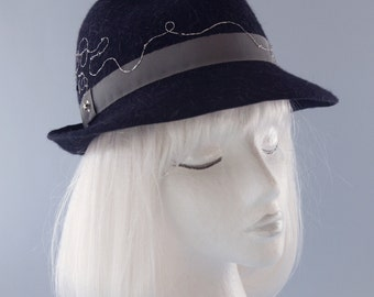 Black Felt Fedora with Silver Swirl Embroidery. Women's Winter Felt Hat. Tweed Wool/Fur Trilby. Couture Fine Millinery. Fall Accessories