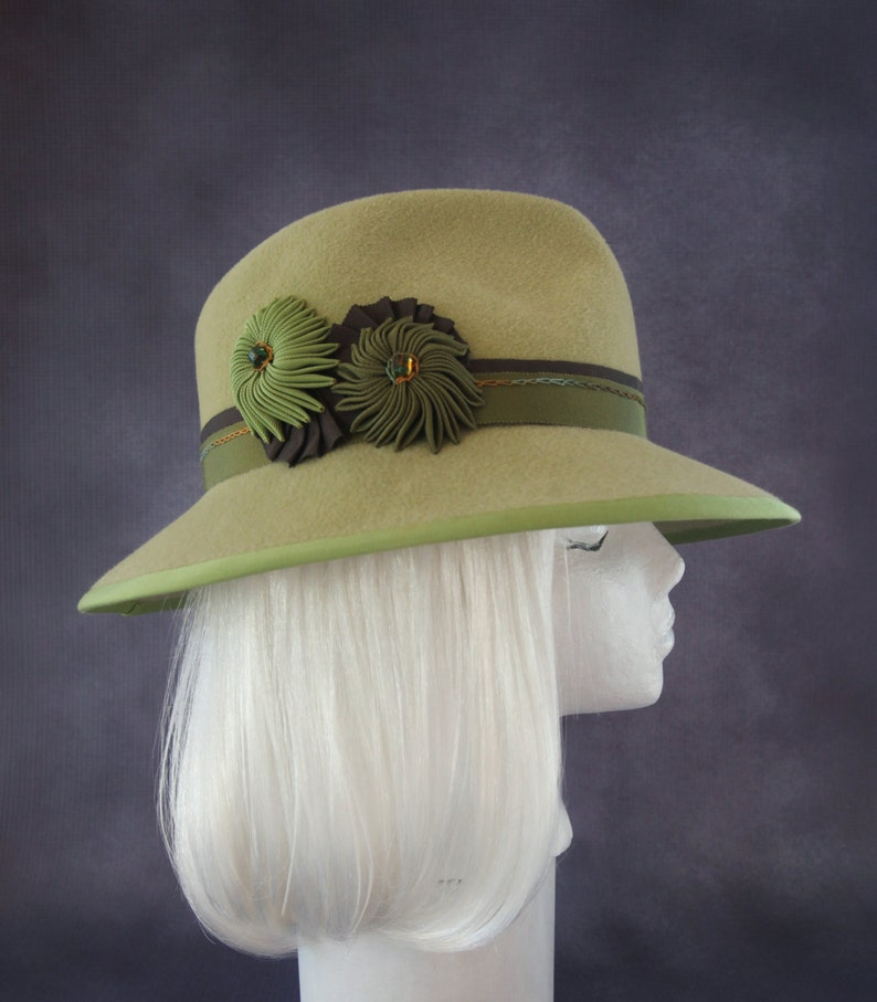 Spring Green Fedora. Wide Brim Women's Hat. Racing Fashion image 0
