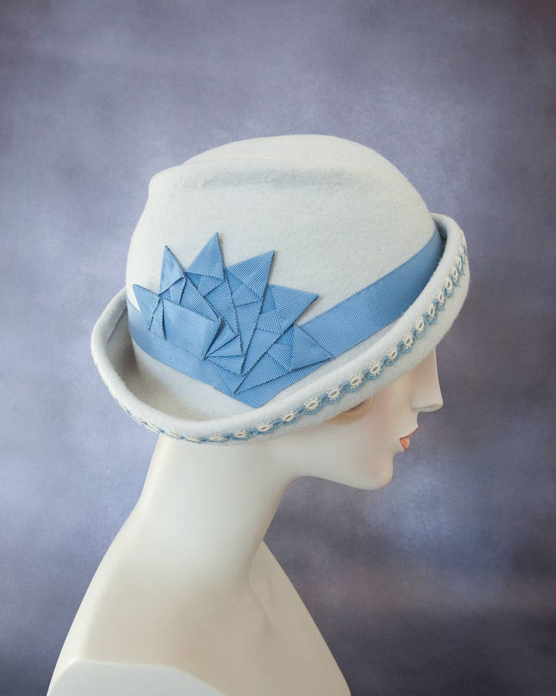 Freeform Wool Cloche. Alabaster Flapper Hat with Blue Ribbon image 0