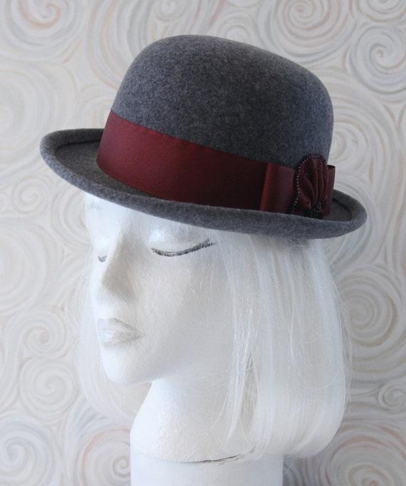 26ed6d0469f Gray Bowler. Wool Felt Hat w  Cranberry Ribbon Beads. Tilt