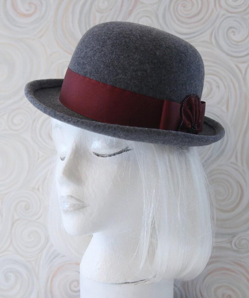 Gray Bowler. Wool Felt Hat w/ Cranberry Ribbon Beads. Tilt image 0