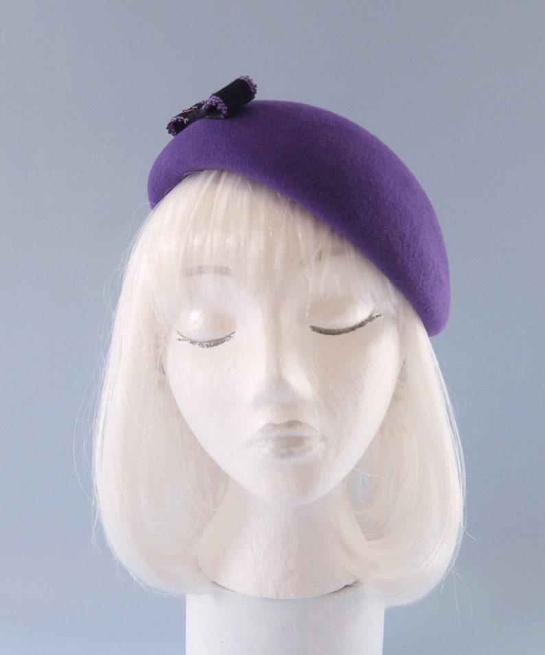 Ultra Violet Beret. Velour Fur Felt Hat with Black Beaded Bow. image 0