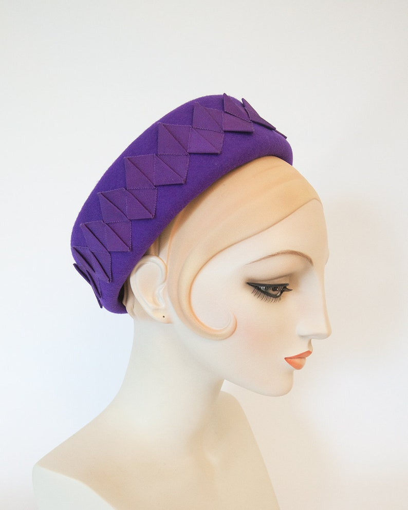 Royal Purple Pillbox Hat with Pleated Ribbon Trim. Women's image 0