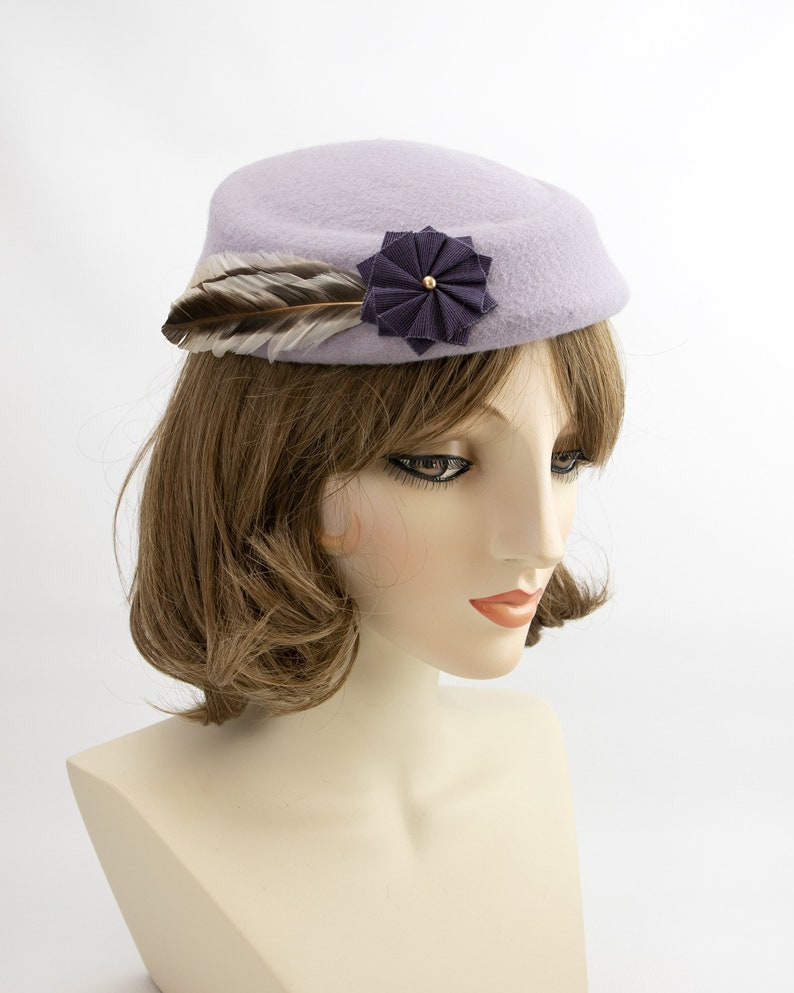 Lavender Pillbox. Purple Wool 1950s Style Cocktail Hat. Mrs image 0