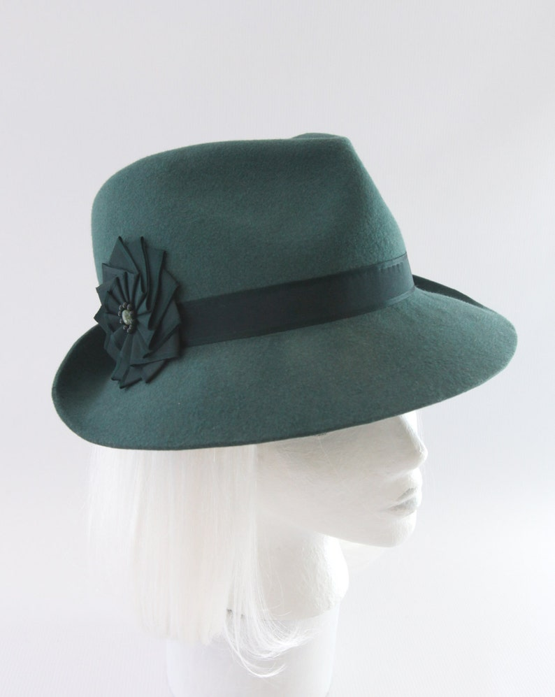 Green Fedora. Bottle Green Fur Felt Hat w/ Vintage Silk Ribbon image 0