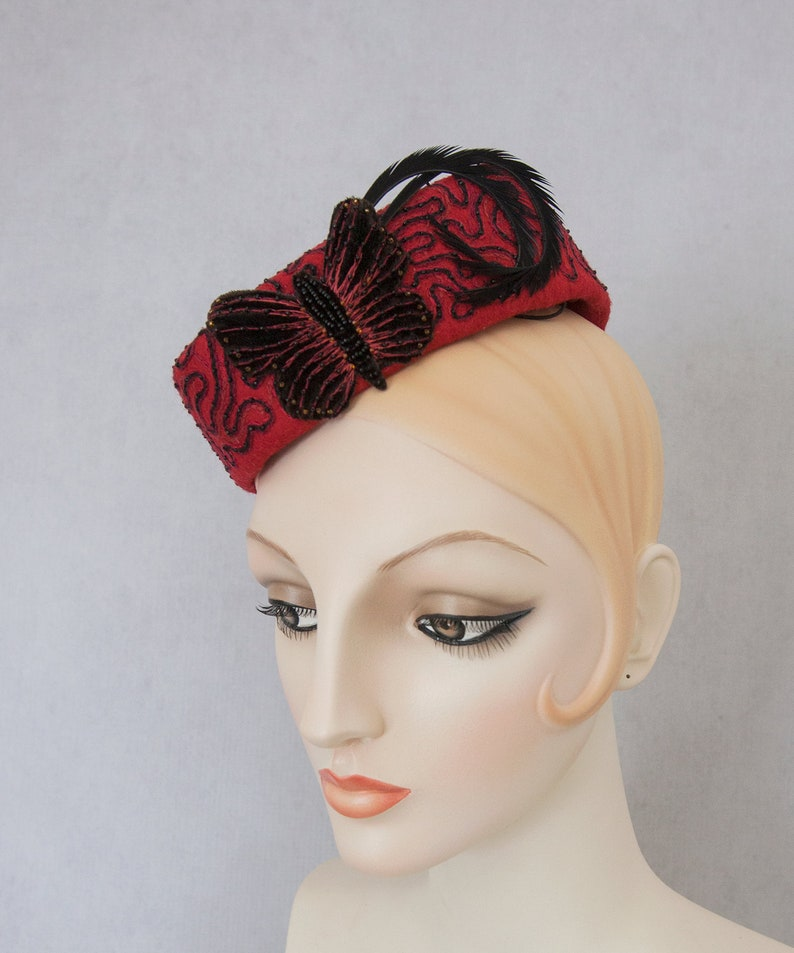 Butterfly Pillbox. Red hand-embroidered fascinator. Vintage image 0