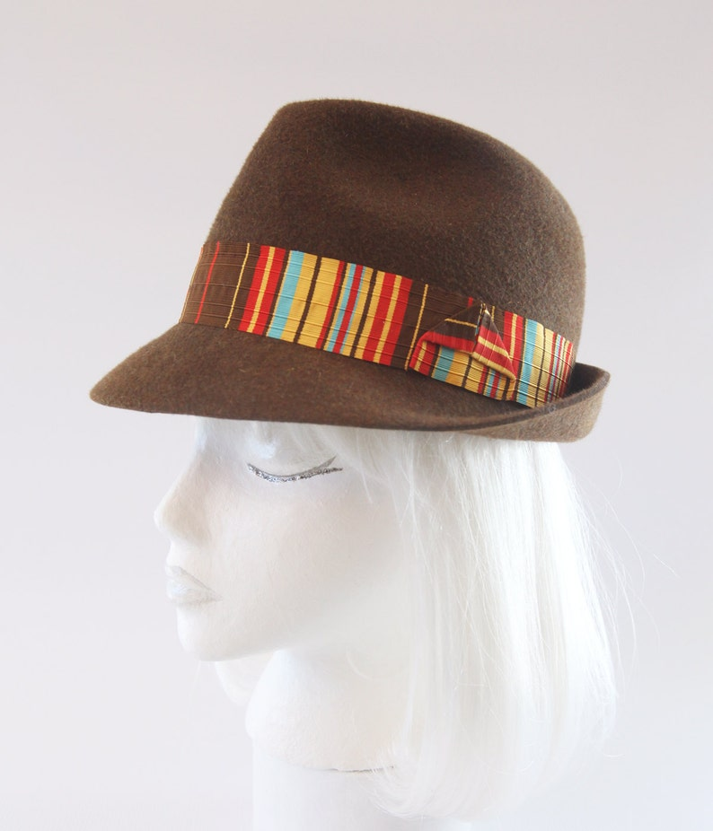 Fall Colors Fedora. Autumn Colored Trilby. Brown Fur Felt Hat image 0