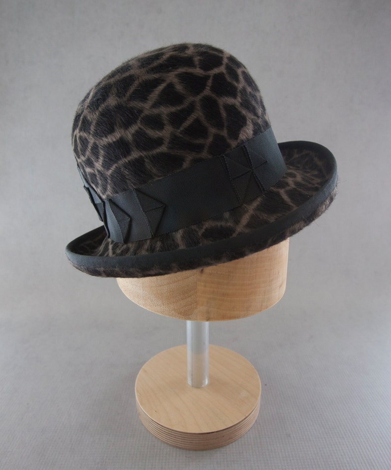 Women's Bowler Hat. Designer Millinery Giraffe Print Fur image 0