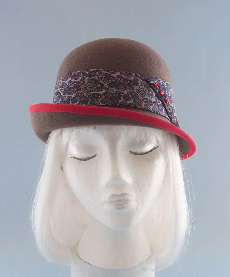 Brown Wool Felt Cloche Hat. Ladies' Derby / Bowler Hat image 0