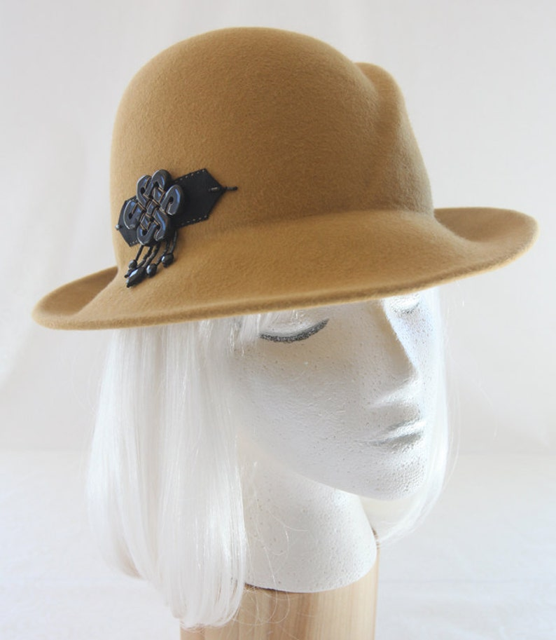 Mustard Yellow Fedora. Gold Fur Felt Hat with Black Onyx image 0