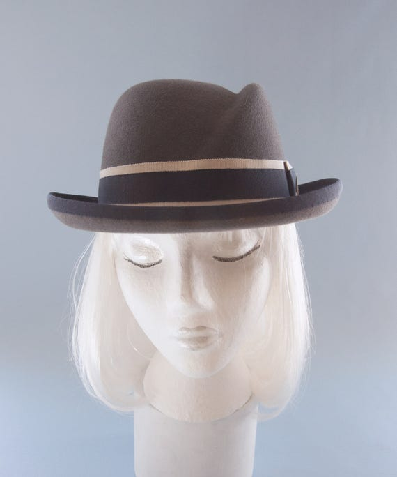 466994cda65 Women s Hat. Gray Fur Felt Homburg. Women s Fedora.