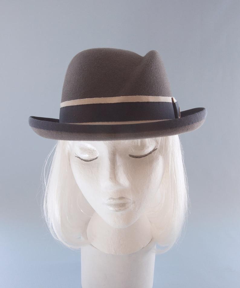 54df79f53fd Women s Hat. Gray Fur Felt Homburg. Women s Fedora.