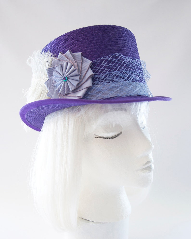Kentucky Derby Hat. Purple Straw Top Hat. Racing Fashion image 0