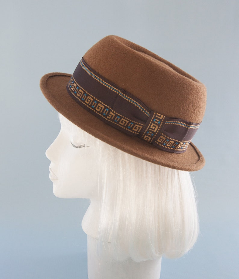Tan Pork Pie Hat. Unisex Porkpie. Brown Wool Felt Hat with image 0