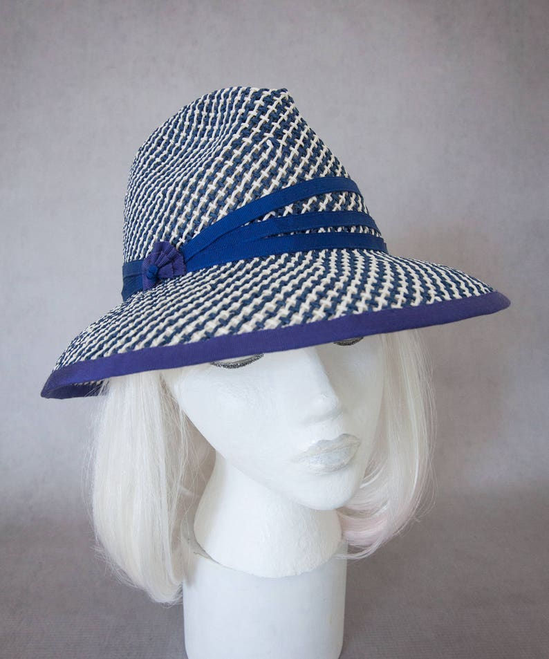Navy Straw Sun Hat. Women's Fedora. Fresh Summer Hat. Toyo image 0