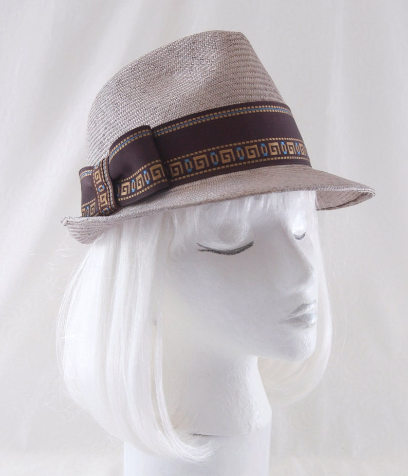 0ebc51bb3d7 Tan Straw Fedora Hat. Taupe Straw Trilby. Ladies' Summer image 0 ...