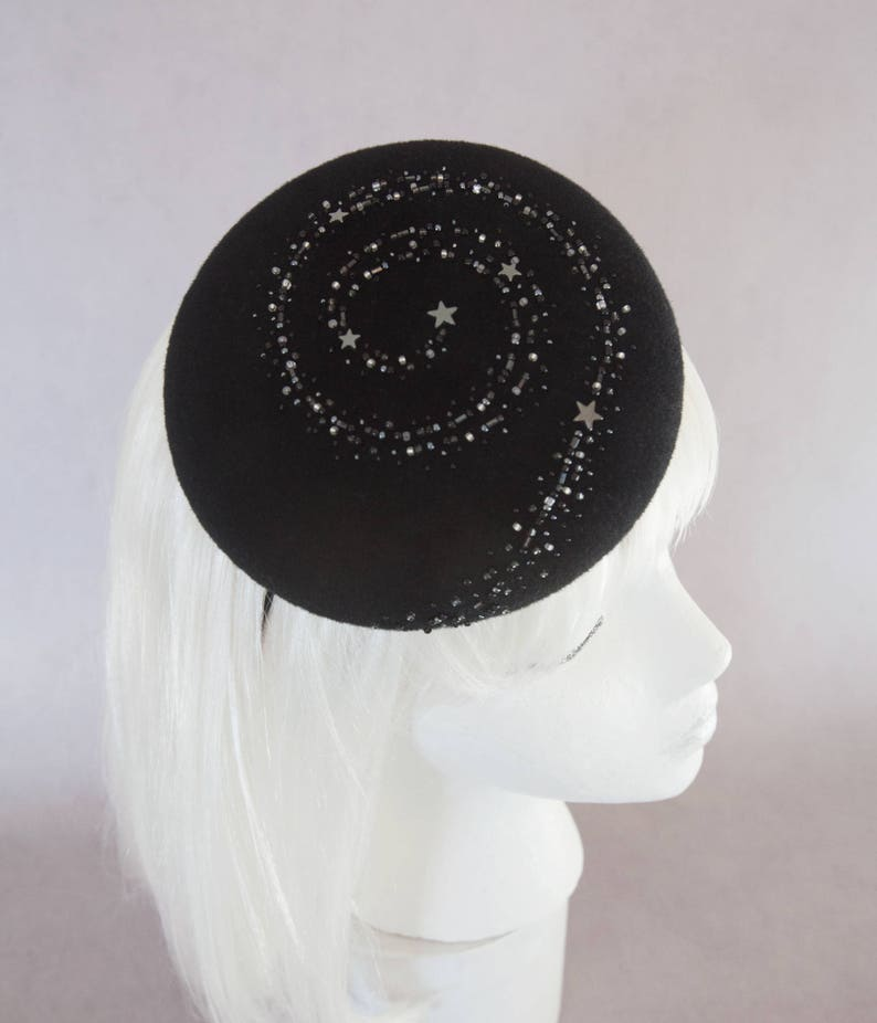Starry Night Cocktail Hat. Black Hand Beaded Stars Fascinator. image 0