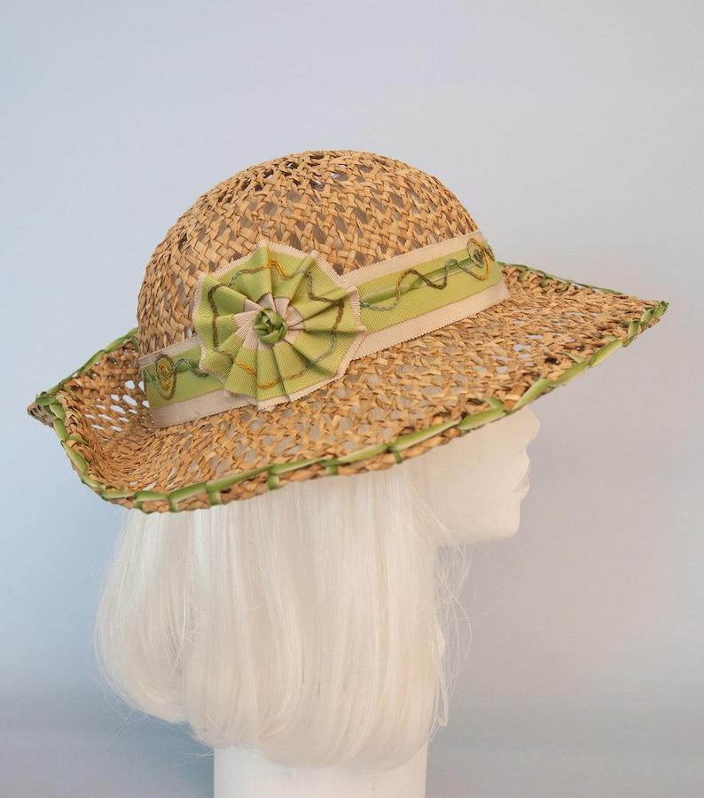 351882f89aaae Beach Hat. Wide Brim Seagrass Sun Hat with Green Ribbon Trim.