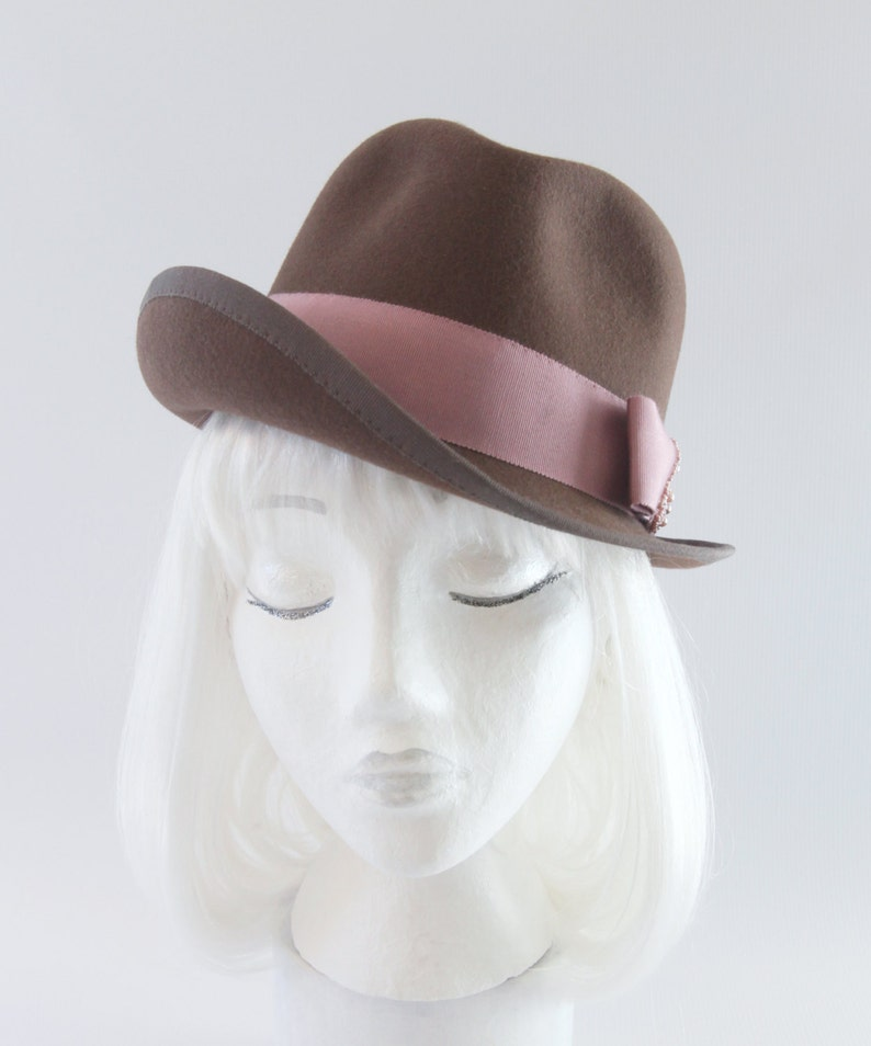 Brown Tilt Hat. Women's Fur Felt Fedora. One of a Kind image 0