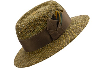 Olive Green Straw Porkpie. Brown, mustard yellow and green panama hat with coque feathers. Earthtones Pork Pie Hat. Women's Straw Fedora.