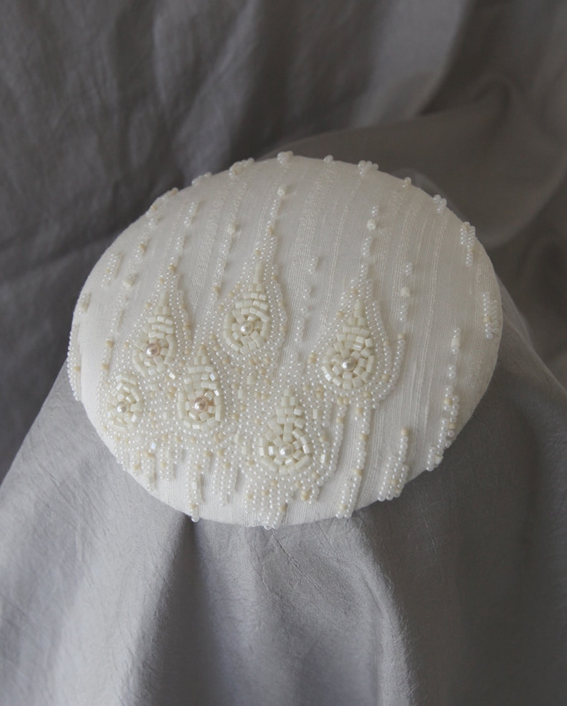 Ready to Ship Bridal Fascinator. Hand Beaded Cocktail Hat w/ image 0