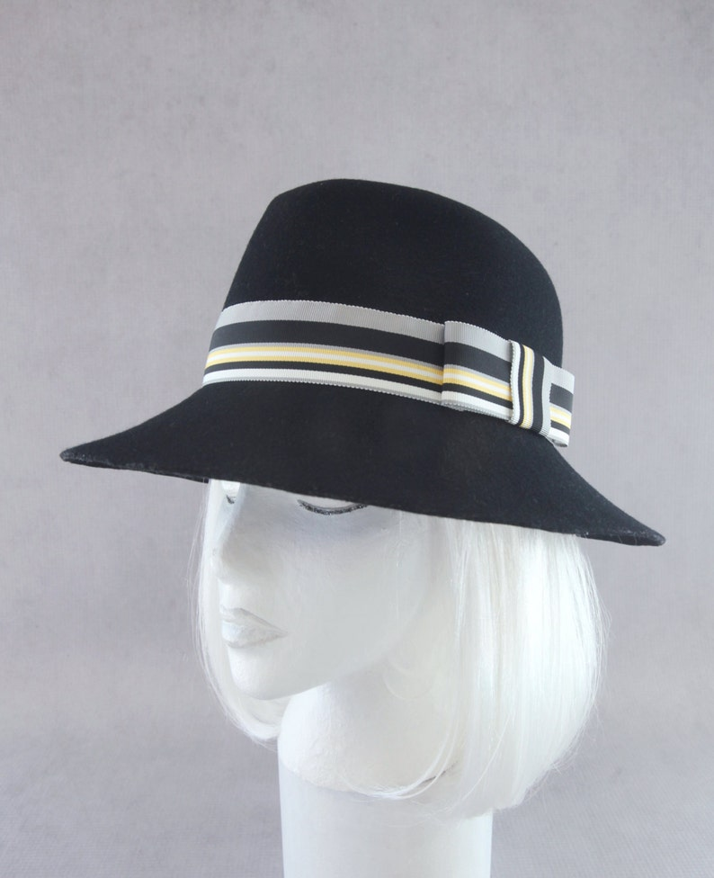 Black Felt Floppy Hat. Wool Wide Brim Hat. Women's Fedora. image 0