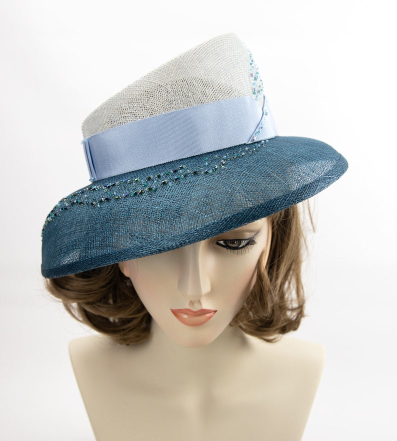 Hand-beaded blue straw hat. Kentucky Derby hat. Two-tone image 0