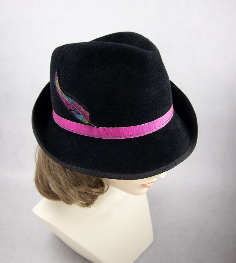 Women's Fedora with Embroidered Feather. Black Velour Fur image 0