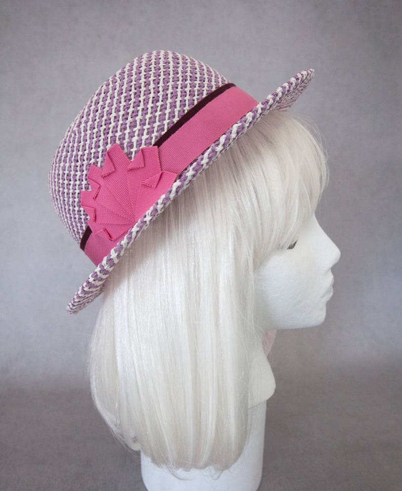 Purple Straw Hat w/ Pink Ribbon. Lavender Porkpie. Women's image 0