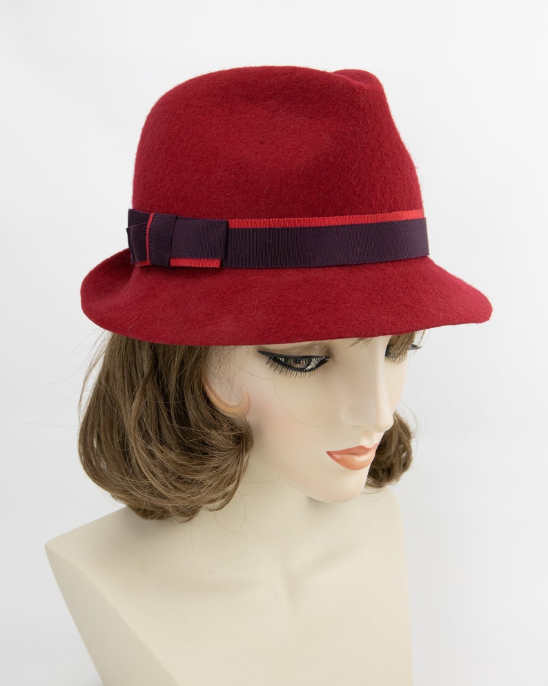 Red Wool Trilby. Women's Wool Felt Fedora. Red and image 0