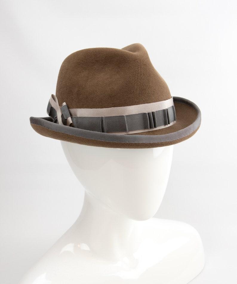 Women's Tan Homburg Hat. Velour Felt Fedora. Brown image 0