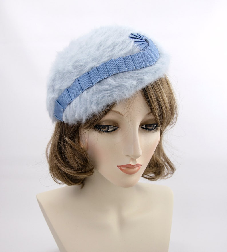 Blue fuzzy beret. One-of-kind millinery. Blocked beret in image 0